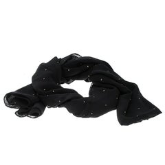 Saint Laurent Paris Black Silk Chiffon Metallic Dot Stole