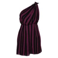 Saint Laurent Paris Black Star Printed Chiffon One Shoulder Mini Dress M
