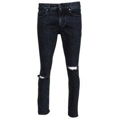 Saint Laurent Paris Black Stonewashed Denim Skinny Trash Jeans M