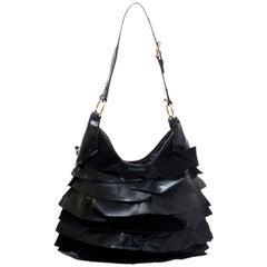 Saint Laurent Paris Black Suede and Patent Leather St. Tropez Shoulder Bag