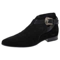 Saint Laurent Paris Black Suede Engraved Buckle Ankle Boots Size 41