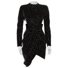 Saint Laurent Paris Black Velvet Crystal Embellished Detail Faux Mini Dress M