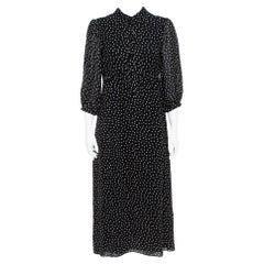 Saint Laurent Paris Black/White Silk Lavalliere Neck Dress M