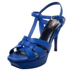 Saint Laurent Paris Blue Leather Tribute Platform Ankle Strap Sandals Size 40