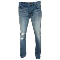 Saint Laurent Paris Blue Light Wash Distressed Denim Jeans M