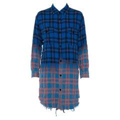 Saint Laurent Paris Blue Ombre Checkered Flannel Button Front Long Shirt M
