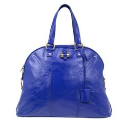 Saint Laurent Paris Blue Patent Leather Oversize Muse Tote