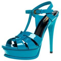 Saint Laurent Paris Blue Patent Leather Tribute Ankle Strap Sandals Size 38