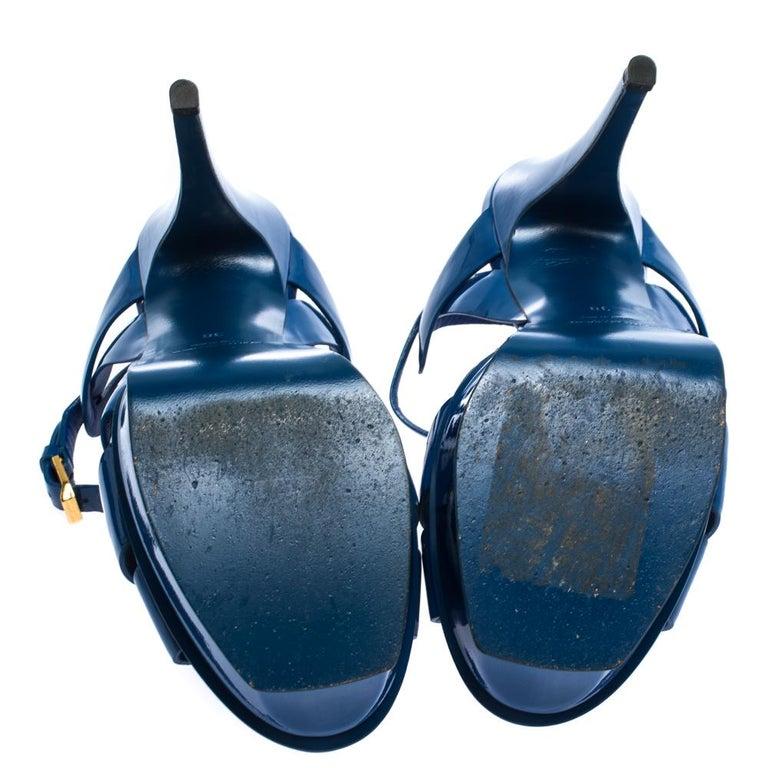 Saint Laurent Paris Blue Patent Leather Tribute Platform Sandals Size 38 For Sale 2