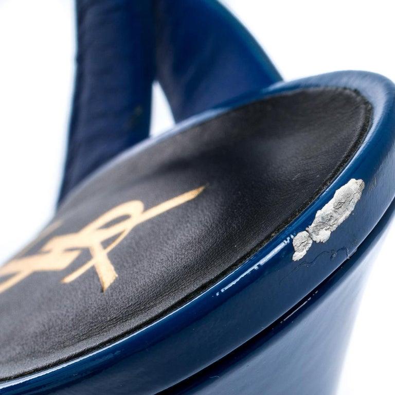 Saint Laurent Paris Blue Patent Leather Tribute Platform Sandals Size 38 For Sale 3