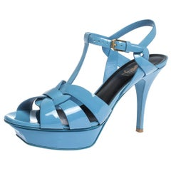 Saint Laurent Paris Blue Patent Leather Tribute Platform Sandals Size 39.5