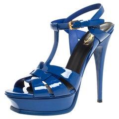 Saint Laurent Paris Blue Patent Leather Tribute Platform Sandals Size 40