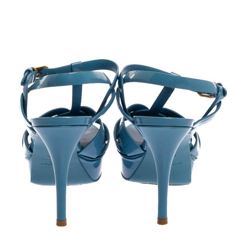 Saint Laurent Paris Blue Patent Leather Tribute Sandals Size 38 In Good Condition For Sale In Dubai, Al Qouz 2