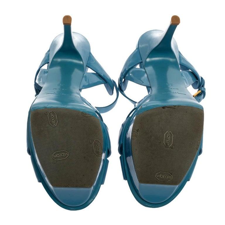 Women's Saint Laurent Paris Blue Patent Leather Tribute Sandals Size 38 For Sale