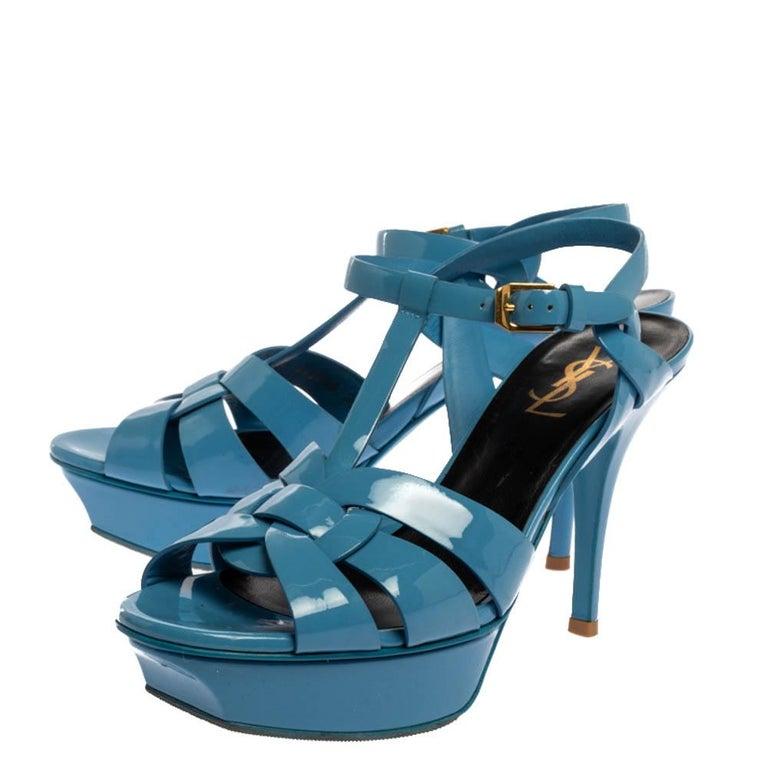 Saint Laurent Paris Blue Patent Leather Tribute Sandals Size 38 For Sale 1