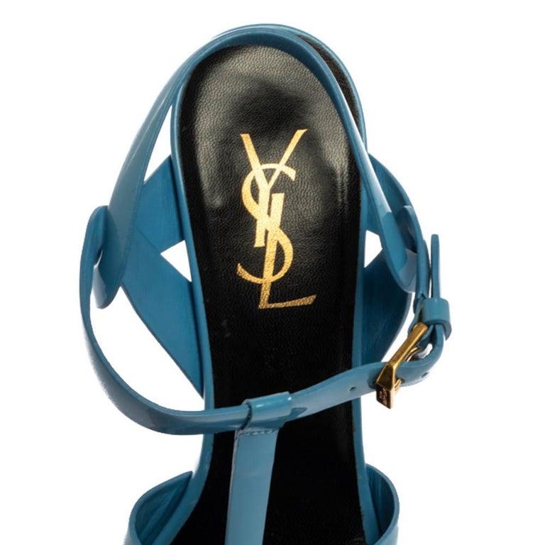 Saint Laurent Paris Blue Patent Leather Tribute Sandals Size 38 For Sale 2