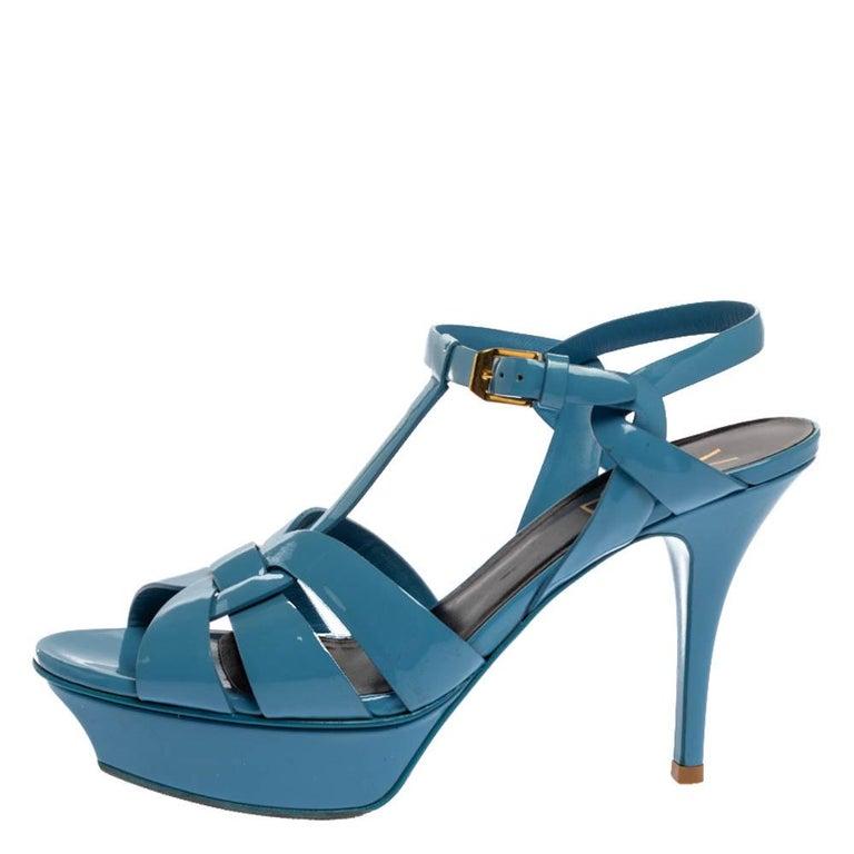 Saint Laurent Paris Blue Patent Leather Tribute Sandals Size 38 For Sale 3