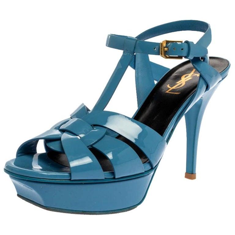 Saint Laurent Paris Blue Patent Leather Tribute Sandals Size 38 For Sale