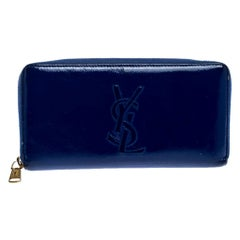 Saint Laurent Paris Blue Patent Leather Zip Around Wallet