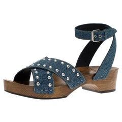 Saint Laurent Paris Blue Studded Denim Clog Sandals Size 40.5