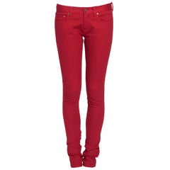 Saint Laurent Paris Brick Red Stretch Denim Skinny Jeans M