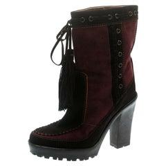 Saint Laurent Paris Brown/Burgundy Suede Tassel Detail Calf Boot Shoes Size 40.5