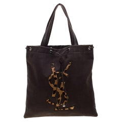 Saint Laurent Paris Brown Canvas and Leather Drawsting Kahala Tote