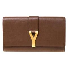 Saint Laurent Paris Brown Leather Large Chyc Clutch