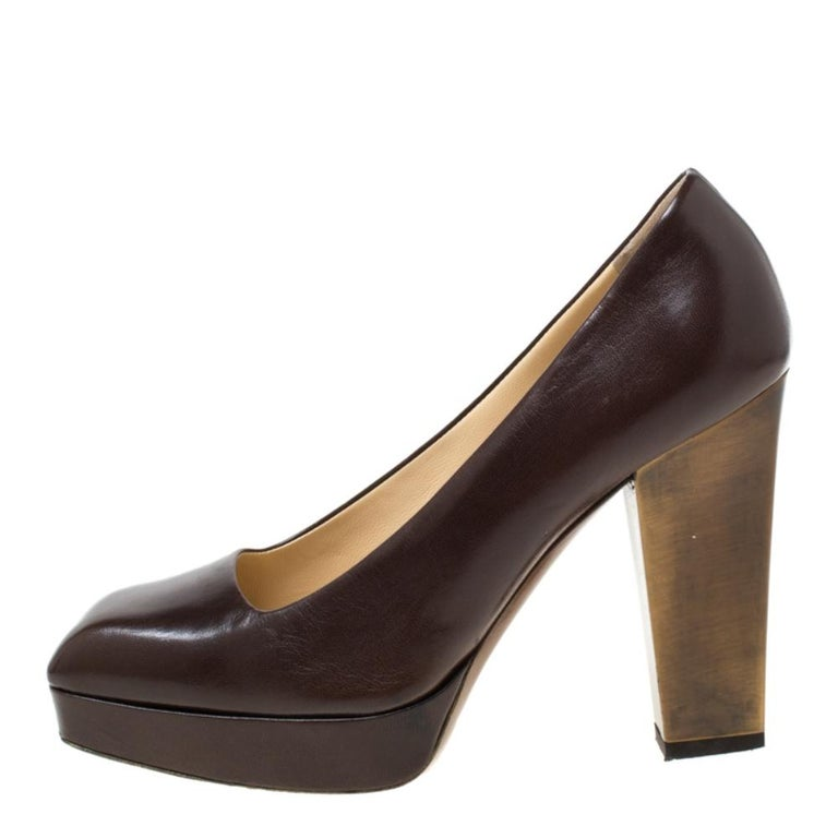 Women's Saint Laurent Paris Brown Leather Platform Pumps Size 37.5
