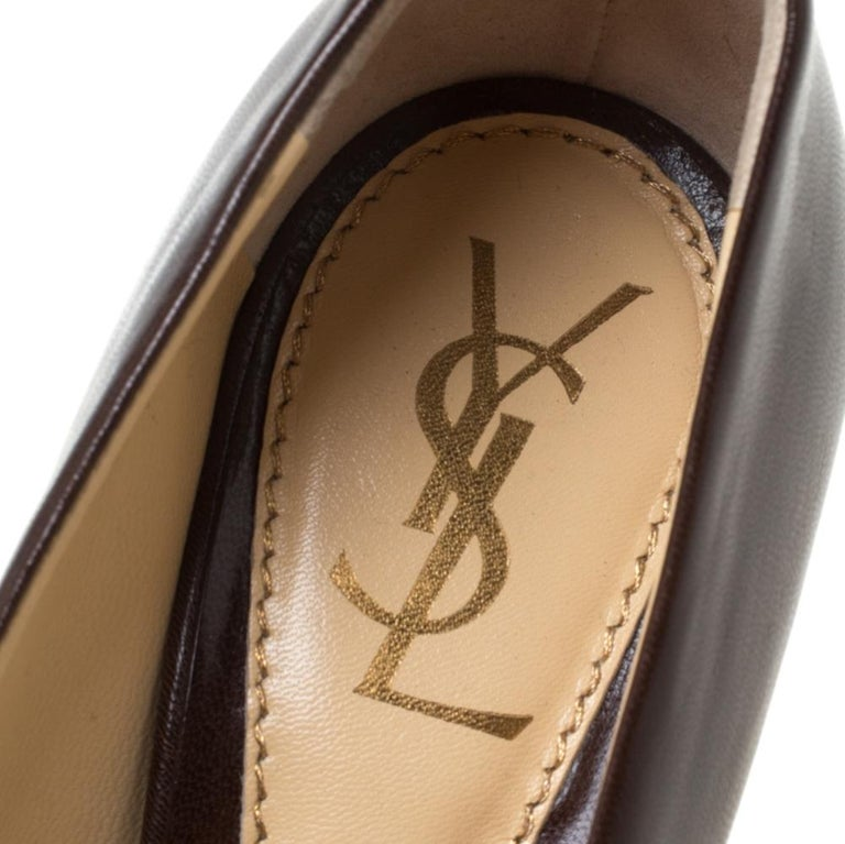Saint Laurent Paris Brown Leather Platform Pumps Size 37.5 1