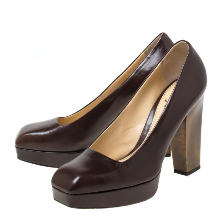 Saint Laurent Paris Brown Leather Platform Pumps Size 37.5 2