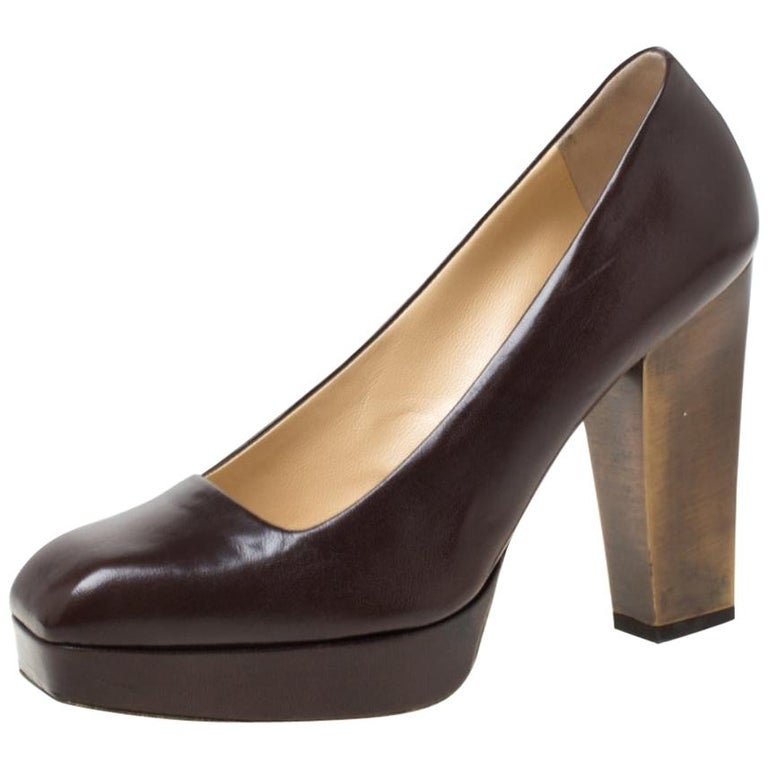 Saint Laurent Paris Brown Leather Platform Pumps Size 37.5