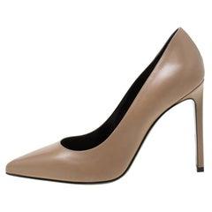 Saint Laurent Paris Brown Leather Pointed Toe Pumps Size 37