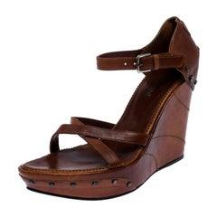 Saint Laurent Paris Brown Leather Studded Cross Strap Wedge Platform Sandals 38