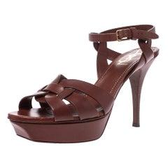 Saint Laurent Paris Brown Leather Tribute Platform Ankle Strap Sandals Size 40