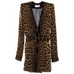 Saint Laurent Paris Brown Leopard Printed Silk Shoulder Padded Mini Dress M