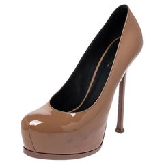 Saint Laurent Paris Brown Patent Leather Tribtoo Platform Pumps Size 39