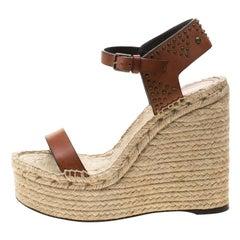 Saint Laurent Paris Brown Studded Leather Espadrille Wedge Platform Sandals 36.5