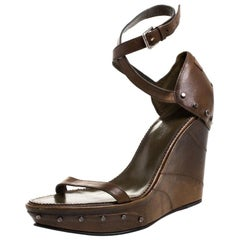 Saint Laurent Paris Brown Studded Leather Open Toe Wedge Platform Sandals Size38