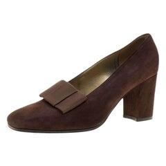 Saint Laurent Paris Brown Suede Bow Vintage Block Heel Pumps Size 38