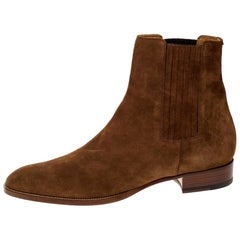 Saint Laurent Paris Brown Suede Wyatt Chelsea Ankle Boots Size 46