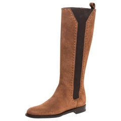 Saint Laurent Paris Brown Suede&Elastic Stitch Detail Knee Length Boots Size 35