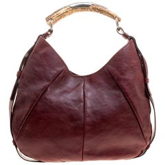Saint Laurent Paris Burgundy Leather Mombasa Hobo