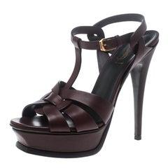 Saint Laurent Paris Burgundy Leather Tribute Platform Sandals Size 38