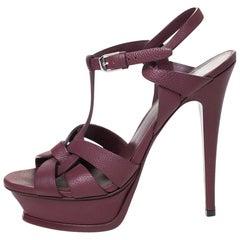 Saint Laurent Paris Burgundy Leather Tribute Platform Sandals Size 38.5
