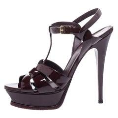 Saint Laurent Paris Burgundy Patent Leather Tribute Platform Sandals Size 38