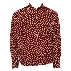 Saint Laurent Paris Burgundy Polka Dot Printed Silk Button Front Shirt L
