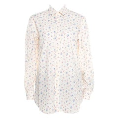 Saint Laurent Paris Cream Floral Printed Cotton Long Sleeve Shirt L