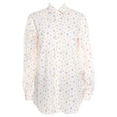 Saint Laurent Paris Cream Floral Printed Cotton Long Sleeve Shirt L