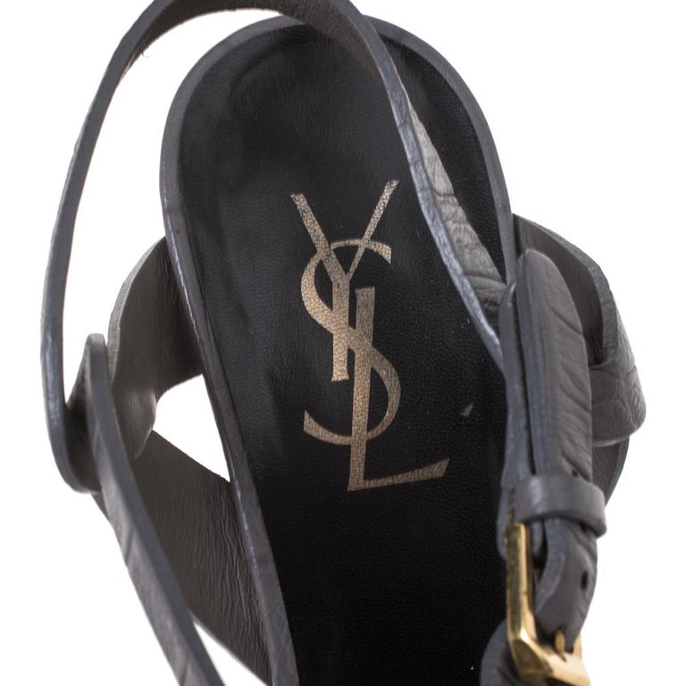 Saint Laurent Paris Croc Embossed Leather TributePlatform AnkleStrap Sandals37.5 For Sale 3